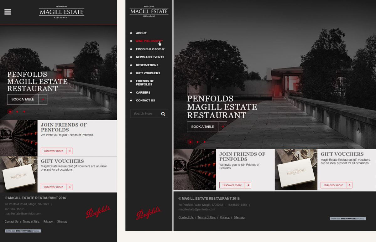 Magill Estate Restaurant Website